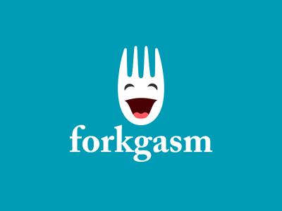forkgasm logo inverted food logo