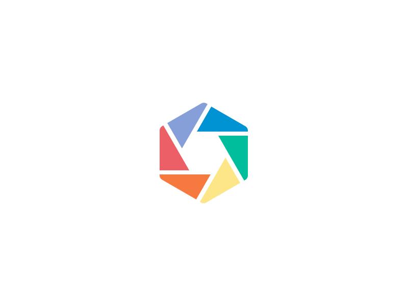 Shutter camera logo brand branding mark shutter saturated hexagon
