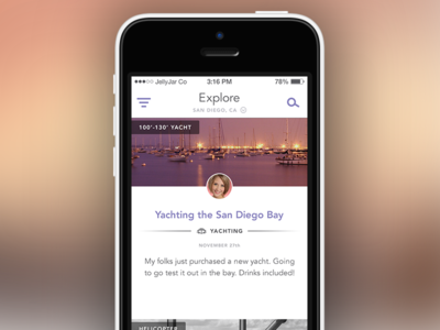 Explore Feed ios app explore discovery feed filter icon search city avatar boat yacht