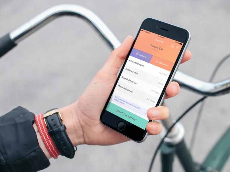 Raffle App holding iphone gradient tickets leaderboard iphone ios raffle