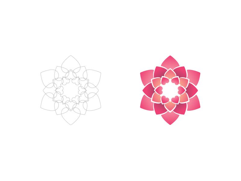 Lotus Valentine community grow growth gradients lines group life circle logo flower lotus