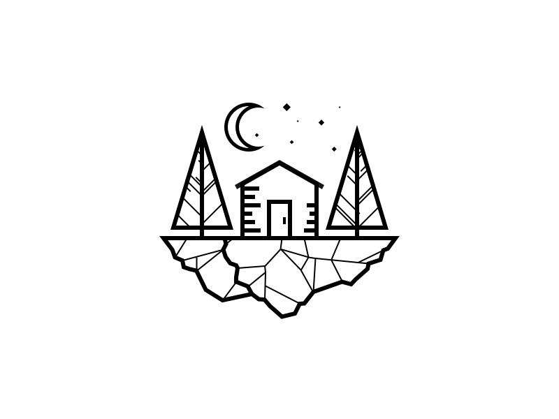 Rock Camp line illustration stone stars moon logo cabin camp tree rock