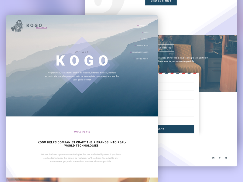 Kogo Landing Page contact form contact mountains tech web desktop navigation intro header landing page