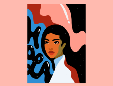 Latinas in Space space latina artwork illustration latinx flat illustration procreate brown beauty