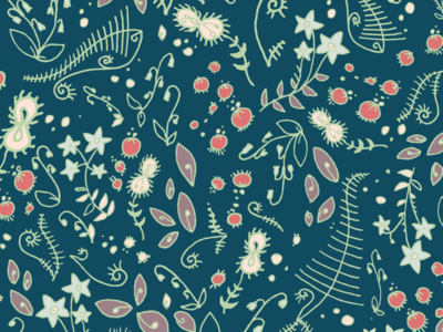 Forestfloor Navy Copy navy ferns moss forest floral fabric vector pattern surface surface pattern surface design