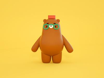 A friendly little bear! cute illustration hat glasses cute bear chubby cinema4d 3d bear