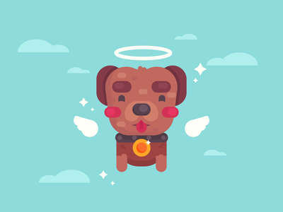 All dogs go to heaven. character cute character design illustration flat design angel dog sad pet loss heaven dogs