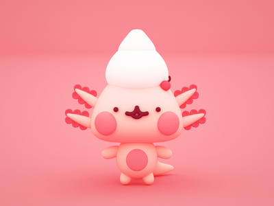 Amai - Pasteleria Kawaii mascot character c4d octane cinema 4d toy character 3d cute illustration character design mascot kawaii ajolote axolotl