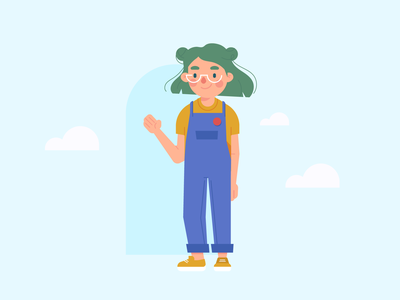 Living in the Clouds overalls green hair vector character cute character design illustration flat design cloud