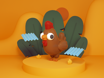 No soy Guillo, pero me guillo. toy design toy tropical banana leaf rooster chicken octane character c4d 3d cute character design illustration dominican republic flat design dominican