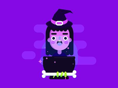 Fire burn and cauldron bubble hall spell magic purple cute cauldron bone snake witch