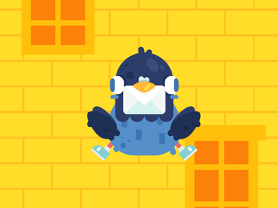 Message for you! vector yellow cute illustration flat design cartoon character design city message pigeon messenger pigeon