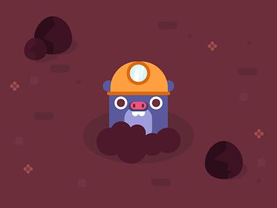 Dig deeper! cute character design illustration flat design cave miner dirt mud mole