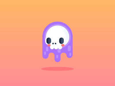 Casper character design illustration flat design cute gradient floating ghost skull
