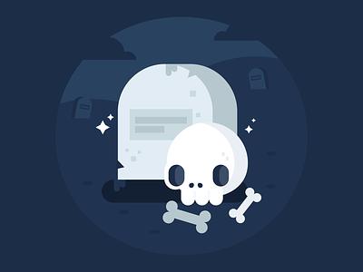 💀 character design illustration flat design vector skull flat illustration cute navy blue flatdesign spooky halloween october bones graveyard tombstone