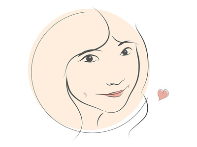 My sweet heart girl sweetheart love illustration face 2d portrait