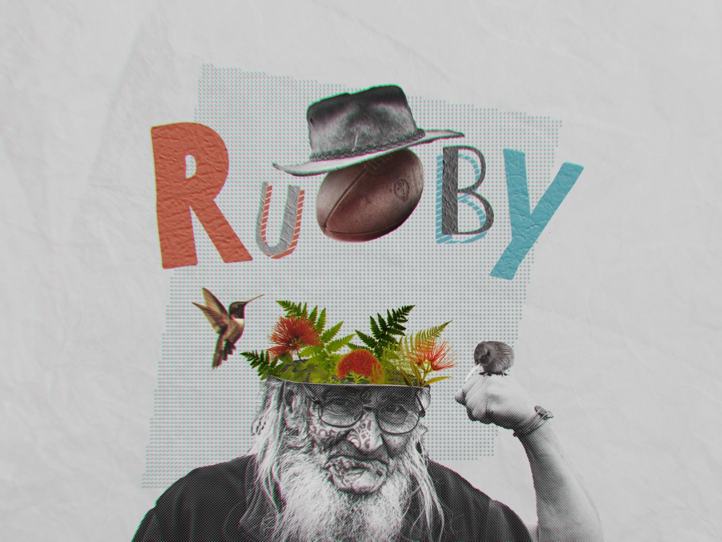 Rugby kiwi hummer rugby papercut collage design 2d