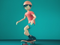 Skating boy physical render