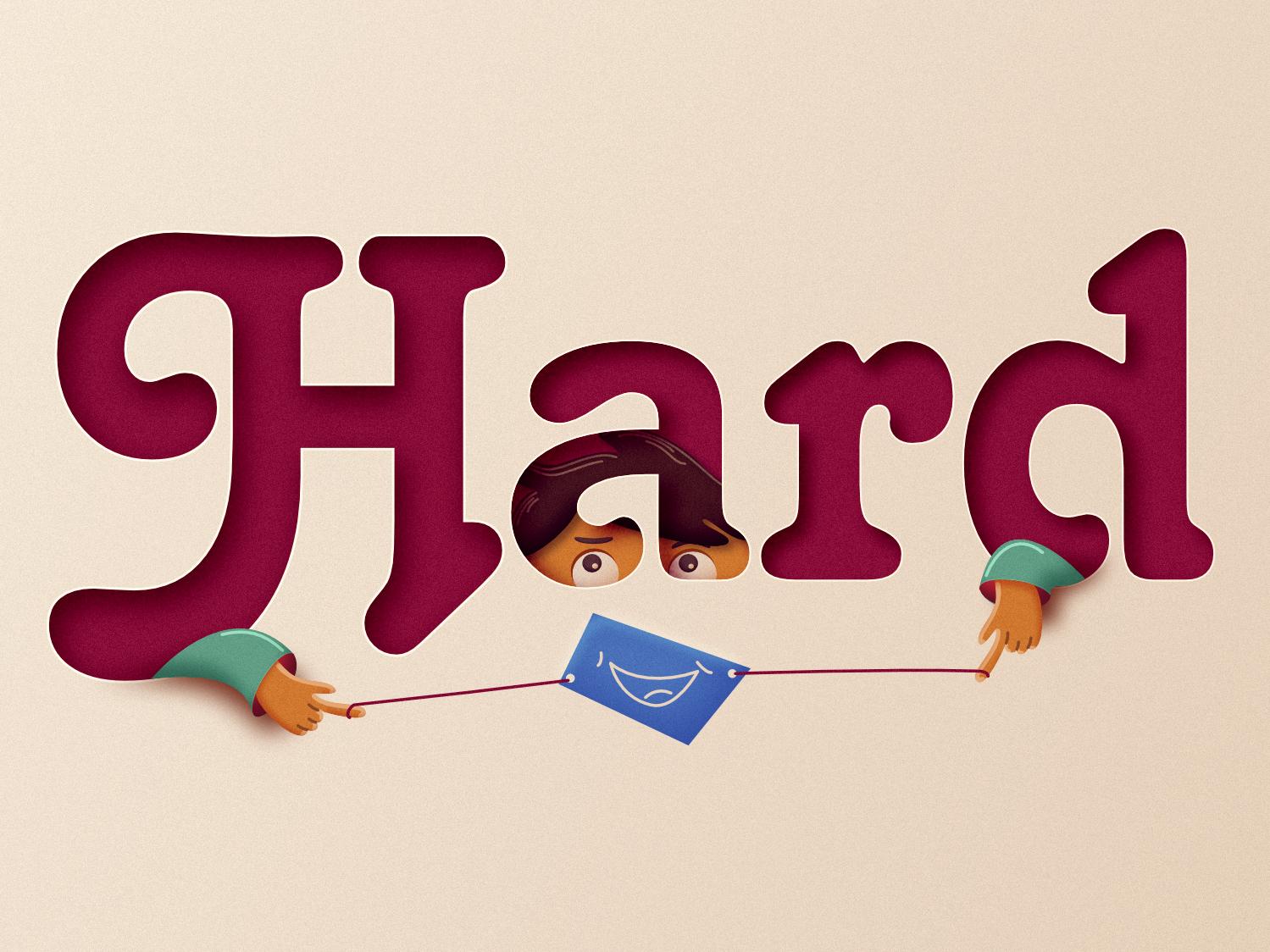 Hard hard vector typography character cartoon design illustration 2d