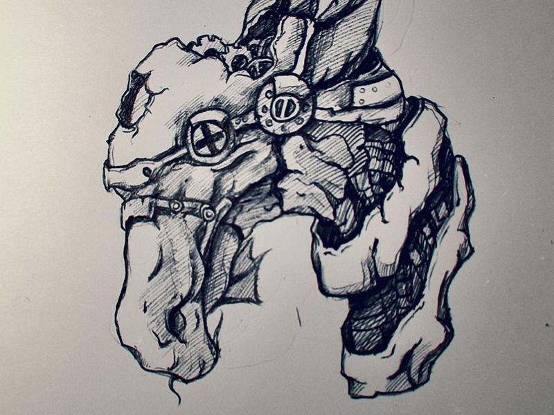 Steampunk dragon dragon machanic machine steampunk doodle handmade drawing sketch characterdesign cartoon 2d
