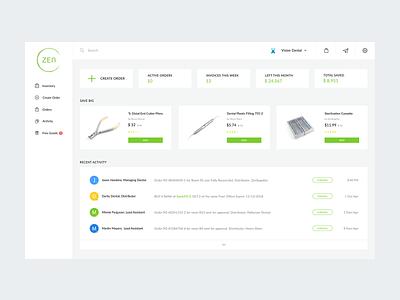 Zen Supplies Dashboard desktop design health figma clean web design web application inventory management dental dashboard ux ui