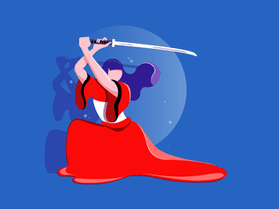 Samurai Girl katana girl samurai japan illustration
