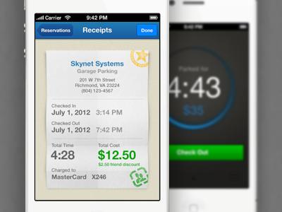 Parkspot Receipt View mobelux app receipt timer