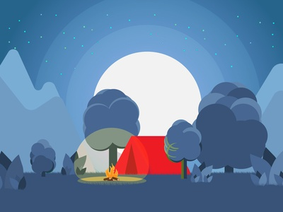 Camping tent illustrator flat shape design motion
