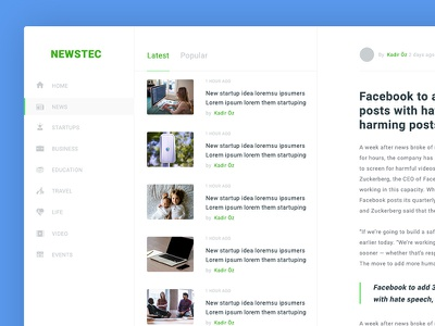 NEWSTEC - Blog Page Free PSD web template magazine page design blog free download psd