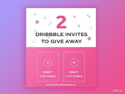 2 Dribbble invites ux ui players logo invites invite invitations invitation icon dribbble designers best