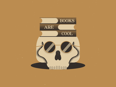 Books Are Cool books skull texture vintage vectorart artist design illustrator graphicdesign digitalart digitaldesign vector illustration