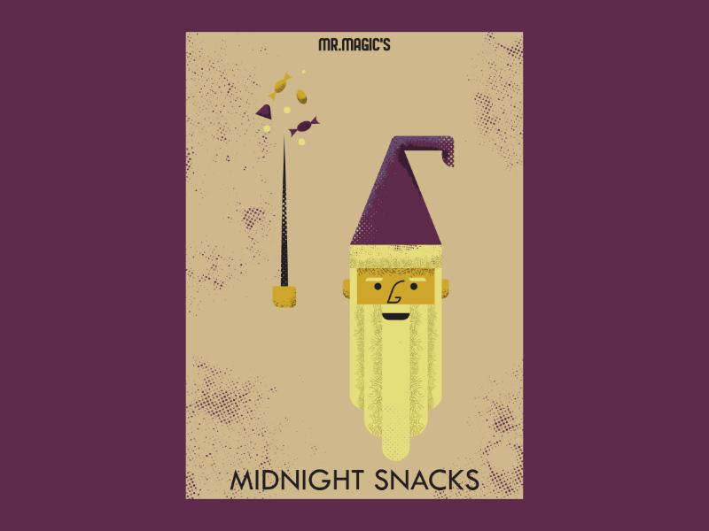 Mr. Magic's Midnight Snacks wizard branding art vintage retro vectorart artist design illustrator graphicdesign digitalart digitaldesign vector illustration