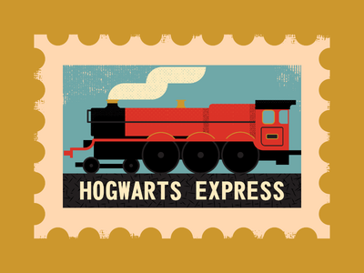 Hogwarts Express stamp hogwarts vintage retro vectorart design illustrator graphicdesign digitalart digitaldesign vector illustration