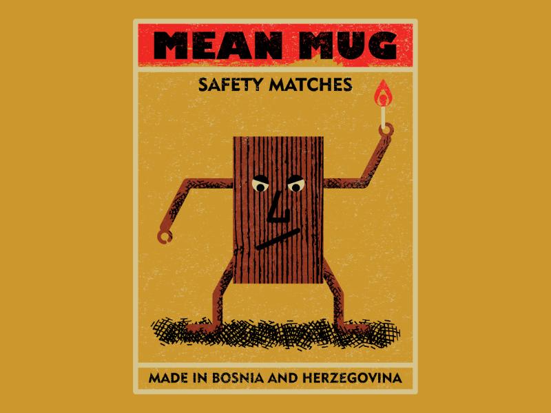 Mean Mug Matchbox vintagematchbox matchbox vintage retro vectorart artist design illustrator graphicdesign digitalart digitaldesign vector illustration