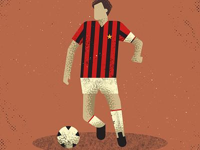 Franco Baresi italy footballer ac milan vintage retro vectorart artist design illustrator graphicdesign digitalart digitaldesign vector illustration