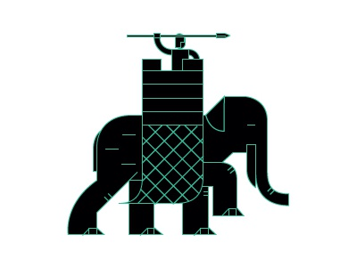Battle elephant fortification pictogram infographic