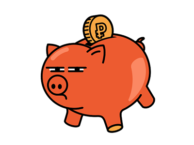 Very suspicious pig money pig illustration