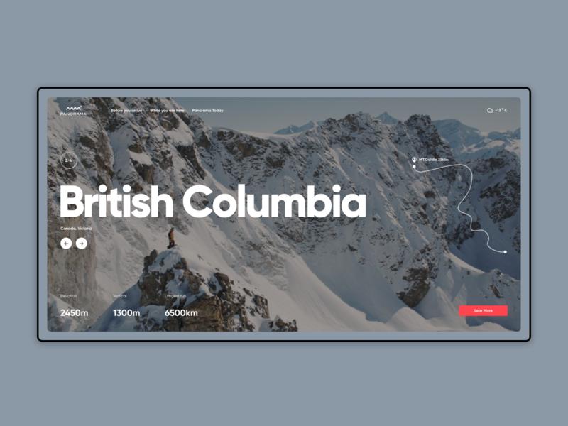 British Columbia snow canada travel web ui ux website design