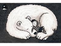 Polar bear and girl sleeping
