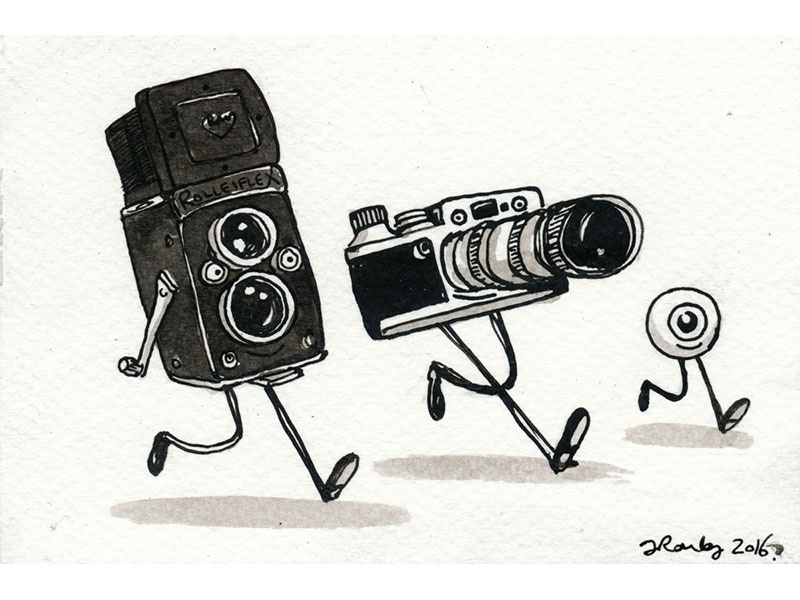 Two cameras and an eyeball ilustration drawing ink wash dip pen pen and ink indian ink cameras camera