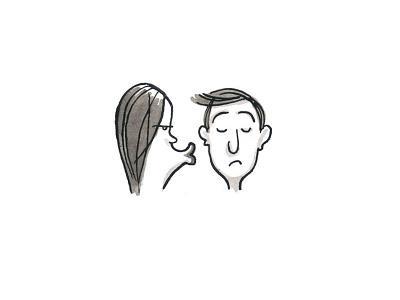Kiss and make up pen and ink kiss