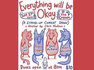 Comedy Night Poster comedy everythingwillbeokay fox bear wolf cat flickknife piglet procreate animals illustration poster