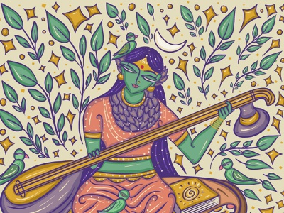 Raja Matangi (Saraswati) Goddess in Bengal Patua Indian Folk Art religion hindu indian goddess raja matangi raja matangi matangi illustration scd balaji indian illustrator