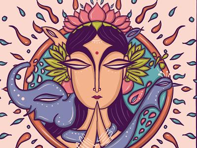 Mother Earth | Gia procreate namaskar prayer transformative art visual storyteller artpreneur indian art folkart women indian illustrator
