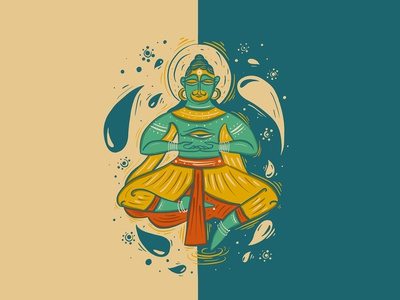 Ying Yang Hanuman sprituality meditation bengal patua art indian folk art folkart indian art mythology procreate indian illustrator scd balaji