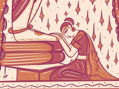 Feet of the Guru vs Knowledge meditation spritual tamil surrender folk art indian folk art bengal patua scd balaji illustration indian illustrator thirukural