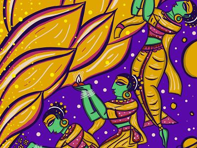 Surrender procreate meditation sprituality spritual folklore folk art bengal patua thirukural tamil illustration scd balaji indian illustrator