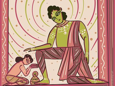 God Ram and King Bharatha thirukural indian folk art scd balaji indian illustrator