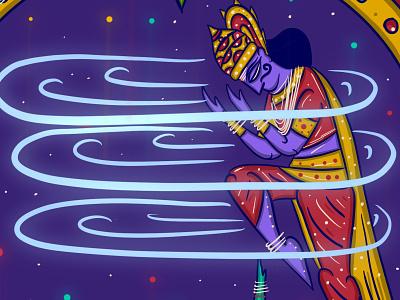 Markandeya + Shiva + Yama god of death tribal art folk art indian folk art bengal patua yama shiva markadeya scd balaji indian illustrator
