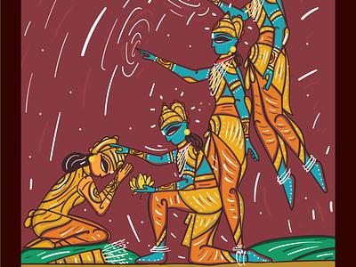 Krishna Arjuna folk art bengal patua scd balaji indian illustrator mahabharat bhagavat gita arjuna krishna
